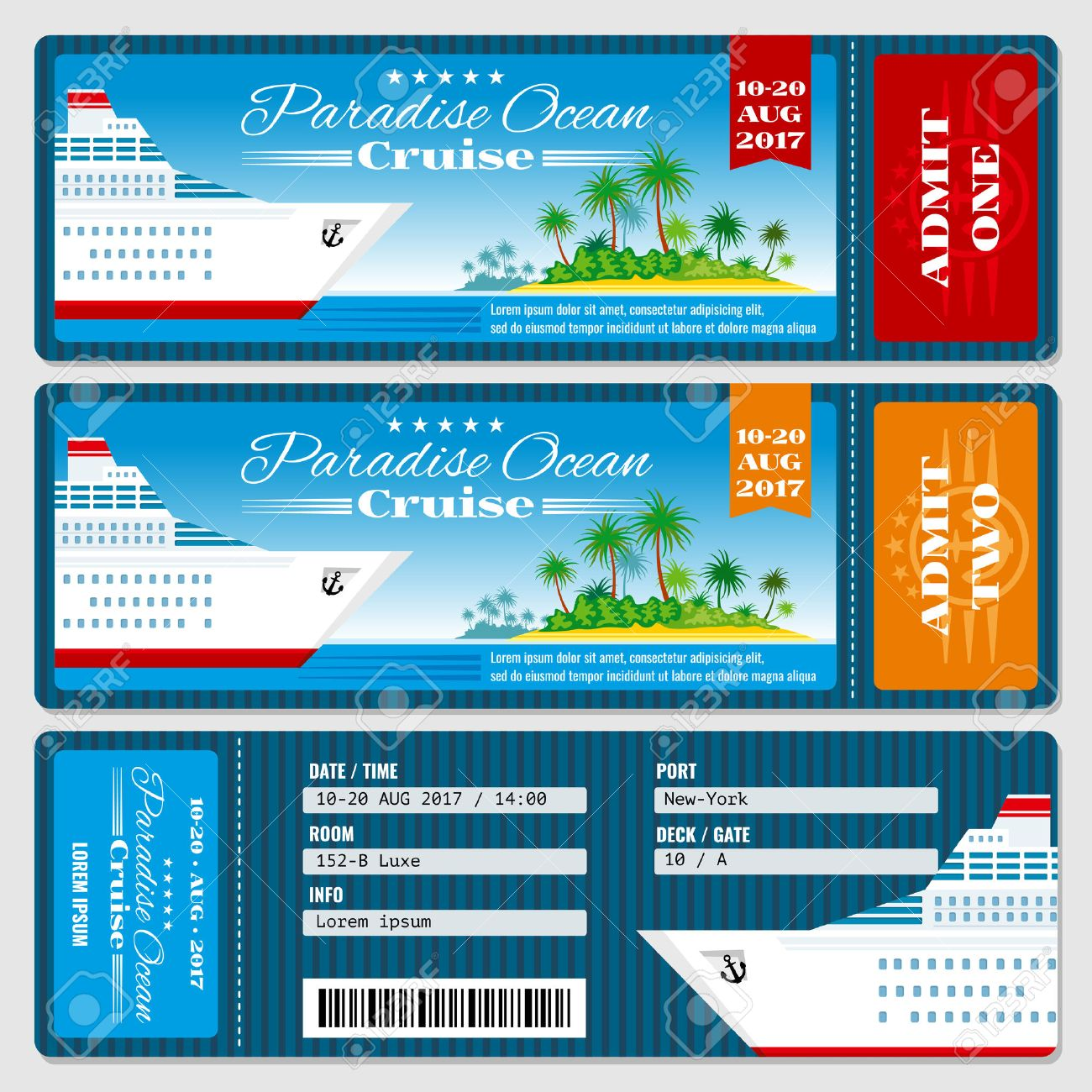 Cruise Ship Boarding Pass Ticket Honeymoon Wedding Cruise