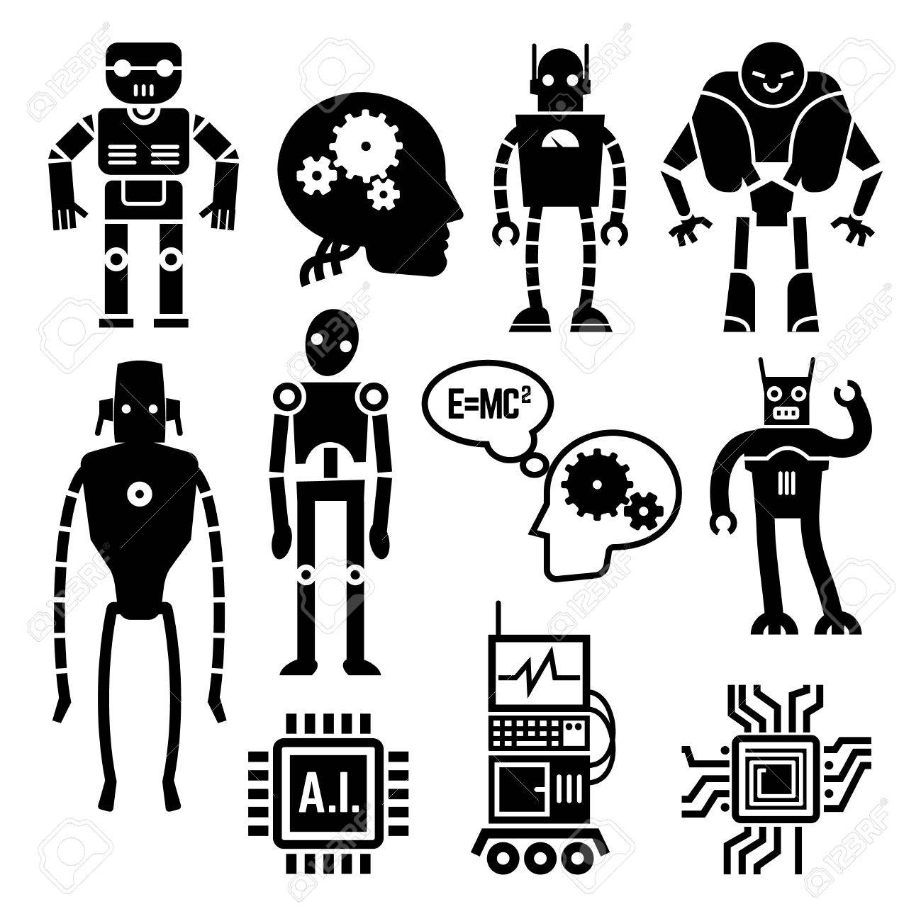 Robots And Cyborgs, Androids And Artificial Intelligence Vector ...