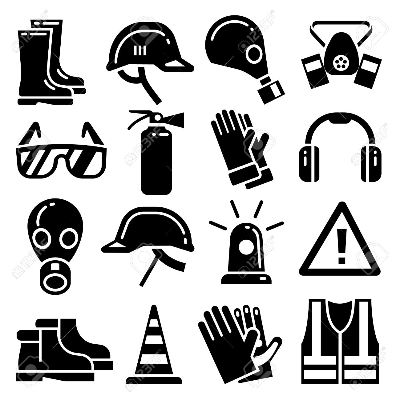 Personal protective equipment vector icons set. Helmet protection, mask and glove for work and protection illustration - 57404972