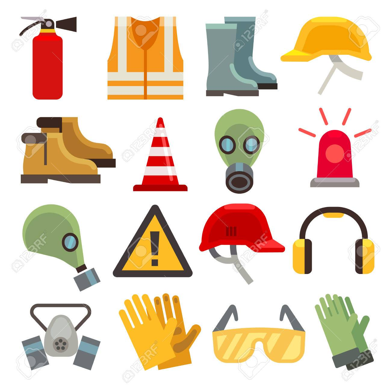 Safety work flat vector icons set. Workwear for safety, shoe and glove safety clothing, helmet and extinguisher illustration - 57404969