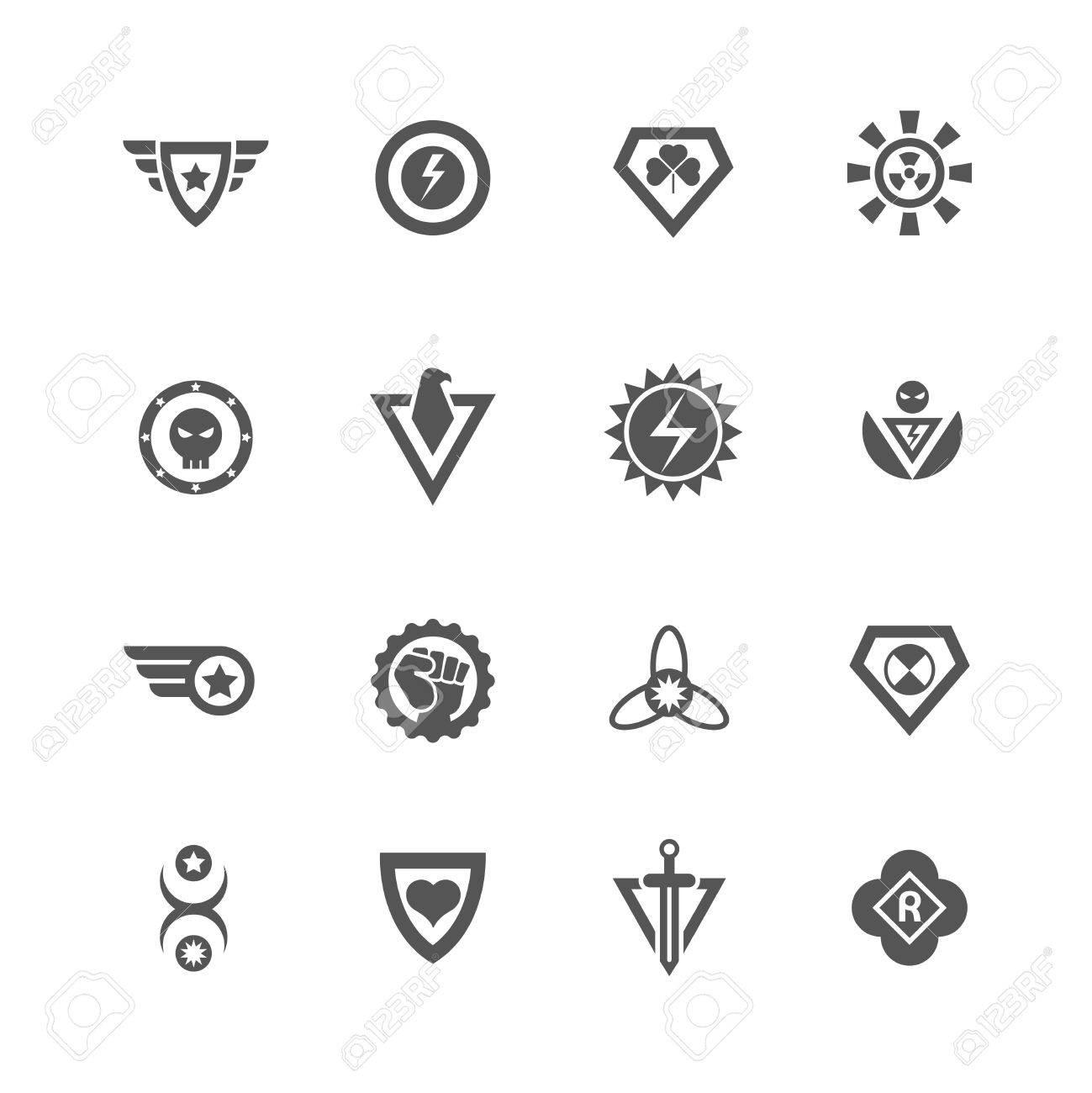 Superheld-Vektor-Abzeichen. Schützen Und Power-Superheld-Logo ...