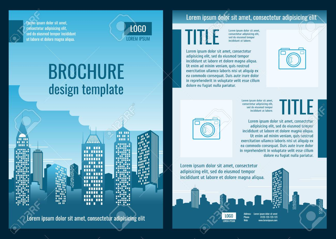 Construction Company Business Brochure Vector Template Brochure - Construction brochure templates
