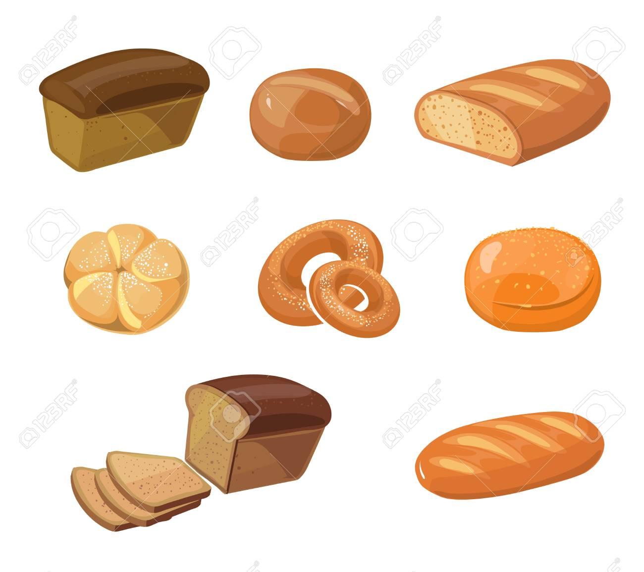 Produits De Boulangerie Pain Vector Icônes De Dessin Animé Icône De