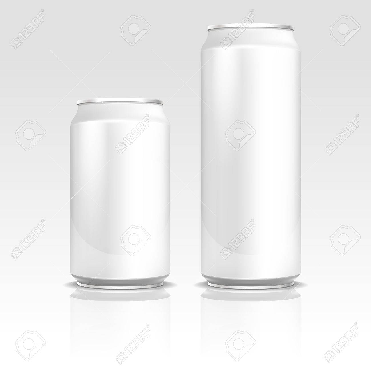 aluminum energy drink soda beer cans 500 and 330 ml vector realistic