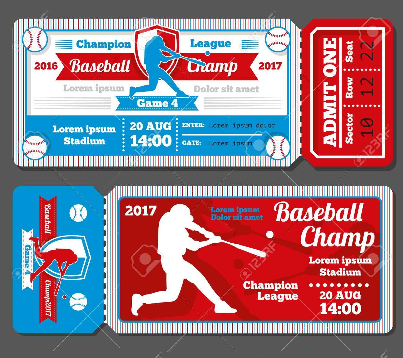 vintage baseball sports vector tickets set baseball ticket