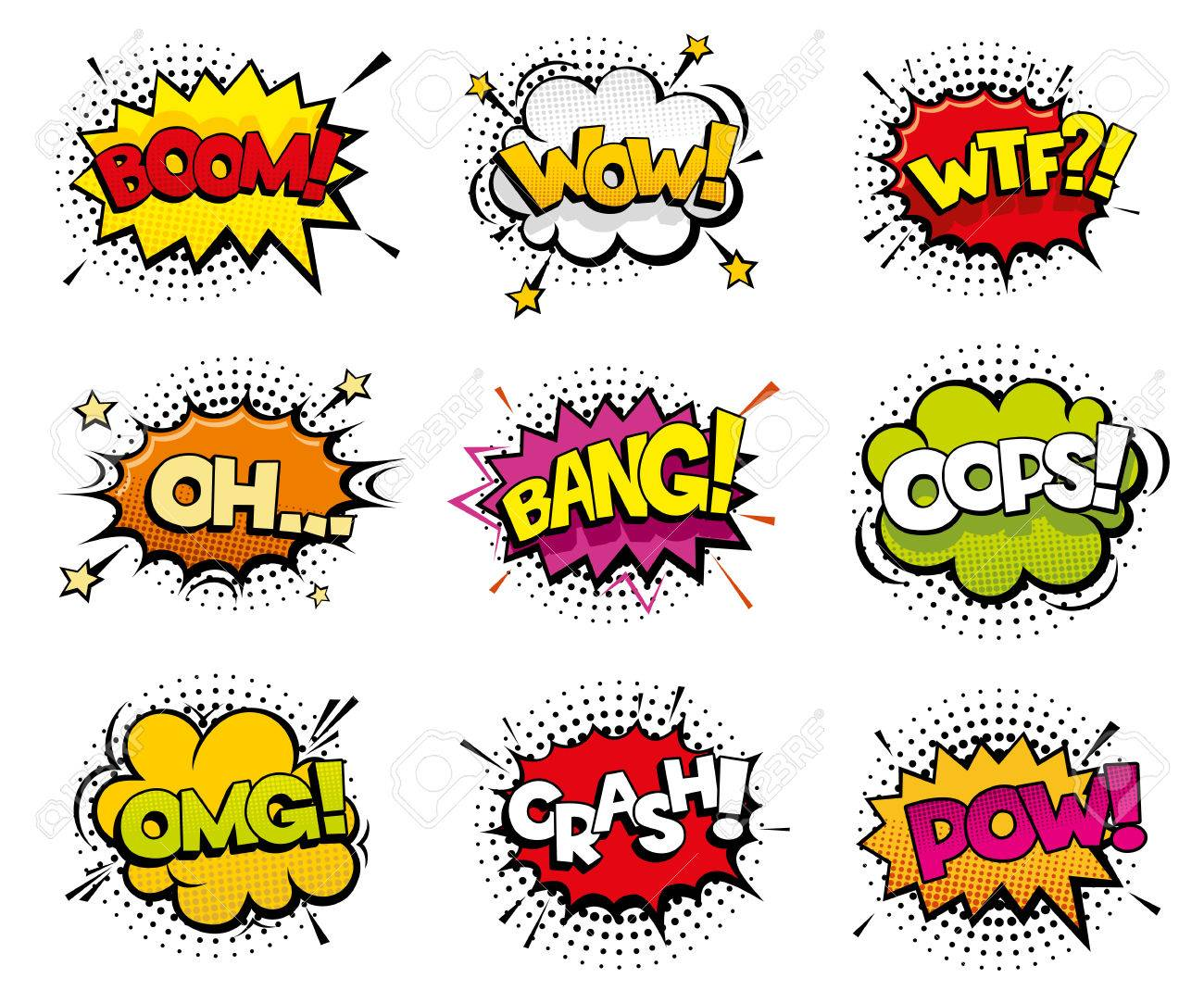 comic sound effects in pop art vector style sound bubble speech