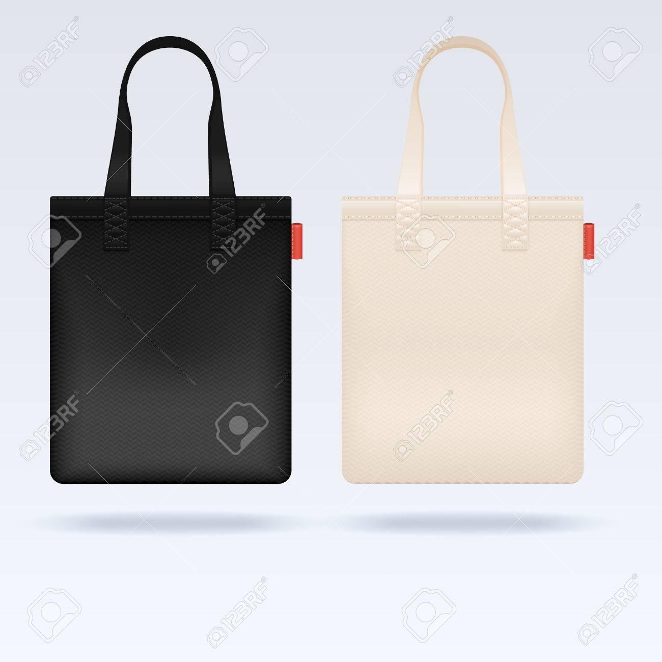白と黒の生地布トートバッグ ベクトル モックアップリアルなイラスト