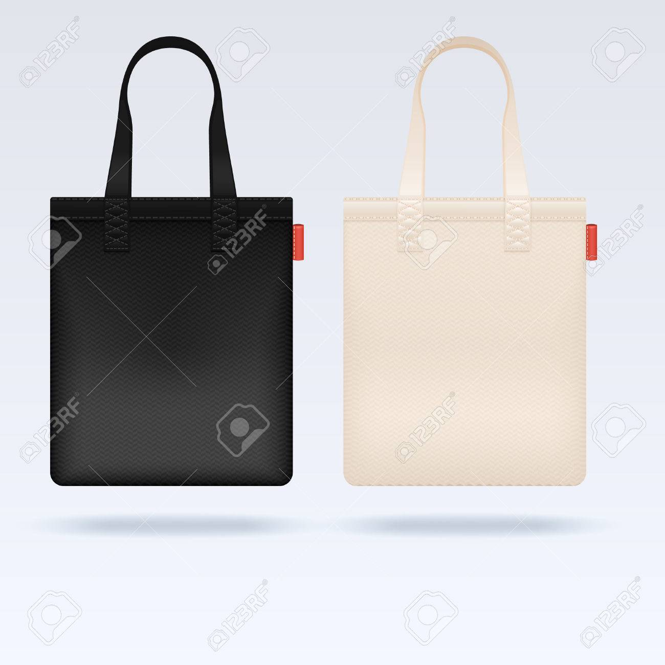 White And Black Fabric Cloth Tote Bags Vector Mockup. Realistic ...