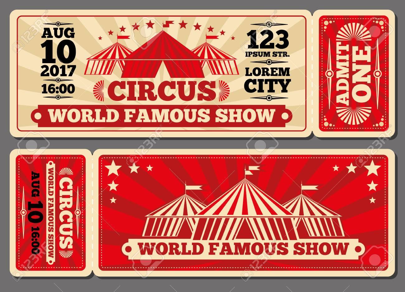 circo mágico show tickets vector de entrada plantillas venta de