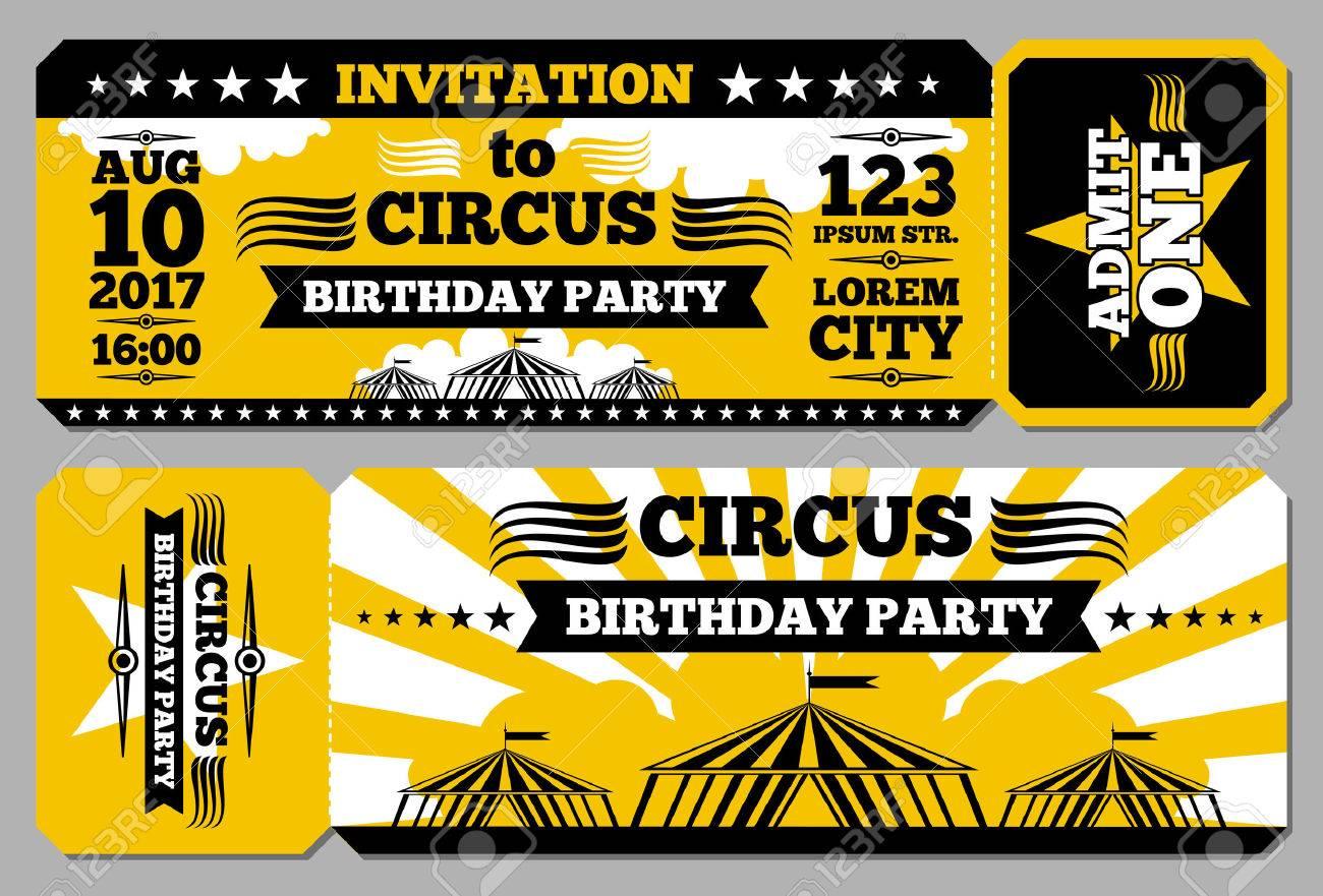 Circus Ticket Birthday Card Mockup Invitation To Birthday