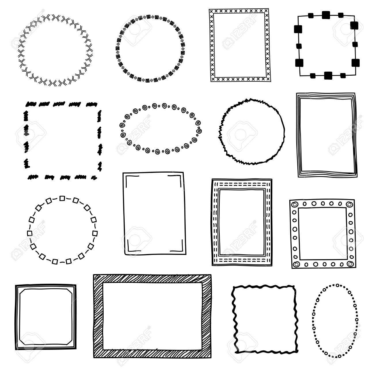 Hand Gezeichnet Doodle Rahmen, Grenzen Vektor Gesetzt. Rahmen Skizze ...