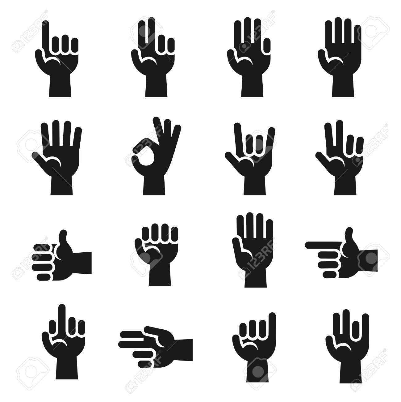 Hands icons set finger counting stop gesture devil horns okay hands icons set finger counting stop gesture devil horns okay v sign buycottarizona