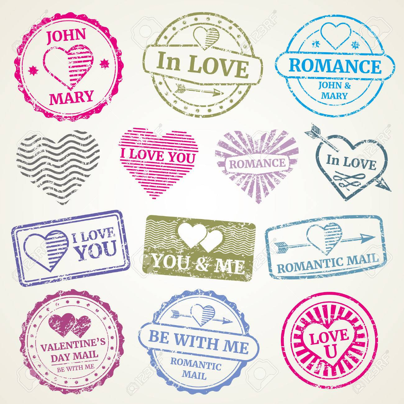 Romantic Postage Stamp Vector Set For Wedding And Valentines ...