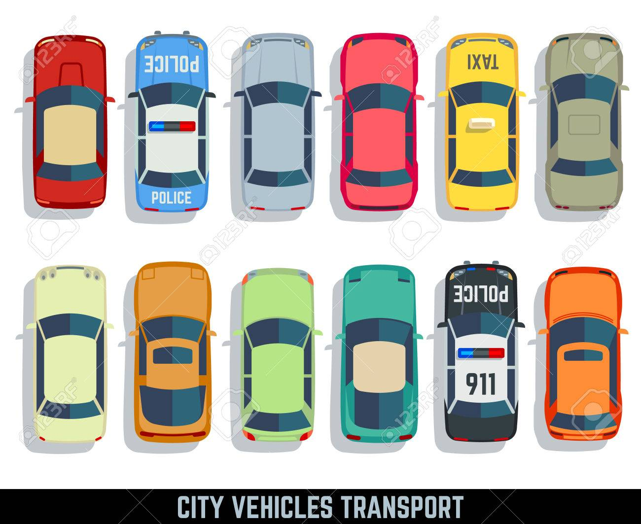 Cars top view vector flat city vehicle transport icons set. Automobile car for transportation, auto car icon illustration - 60003143