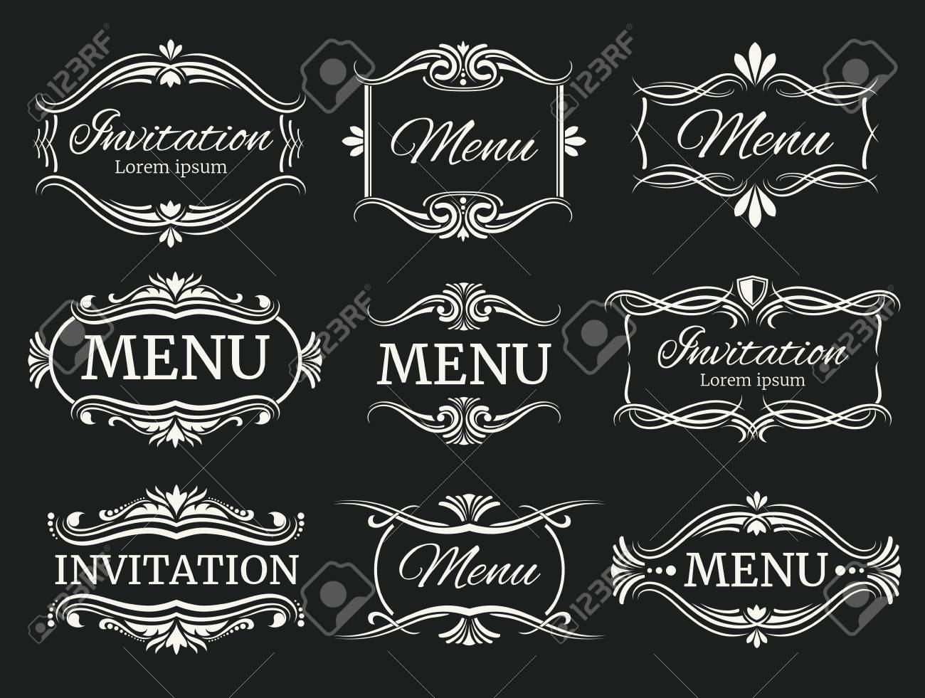 Calligraphic decorative vector frames for menu and wedding calligraphic decorative vector frames for menu and wedding invitation calligraphic frame for wedding and invitation junglespirit Image collections