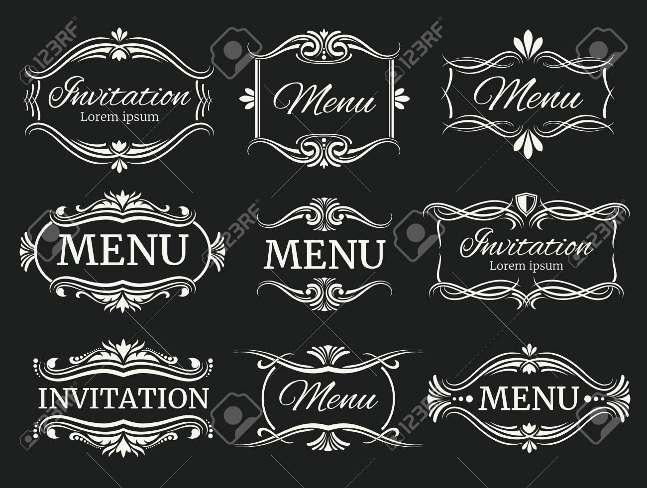 Kalli Dekorative Vektor-Rahmen Für Das Menü Und Hochzeitseinladung ...