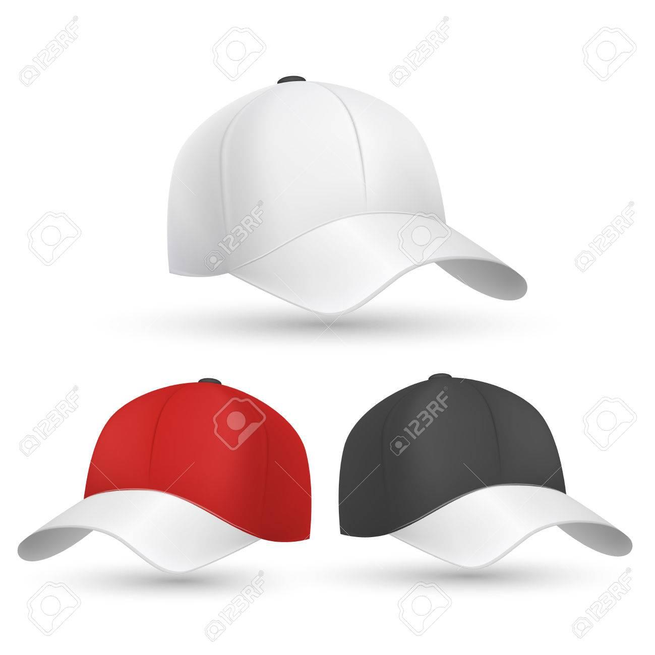 Baseball-Kappe Schwarz, Weiß Und Rot Vektor-Vorlagen. Cap Zum Schutz ...