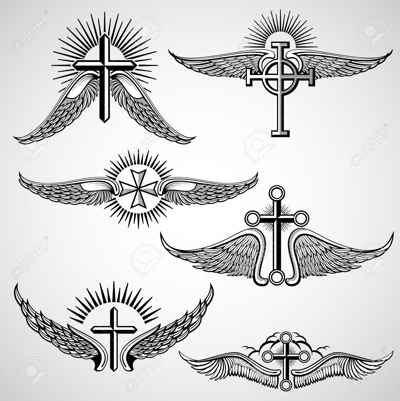 croix et ailes Vintage éléments vectoriels de tatouage. tatouage vintage  avec l\u0027aile,