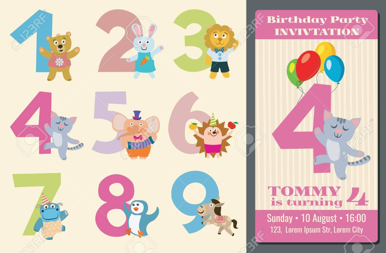 Kids Birthday Anniversary Numbers With Cartoon Animals And Birthday ...