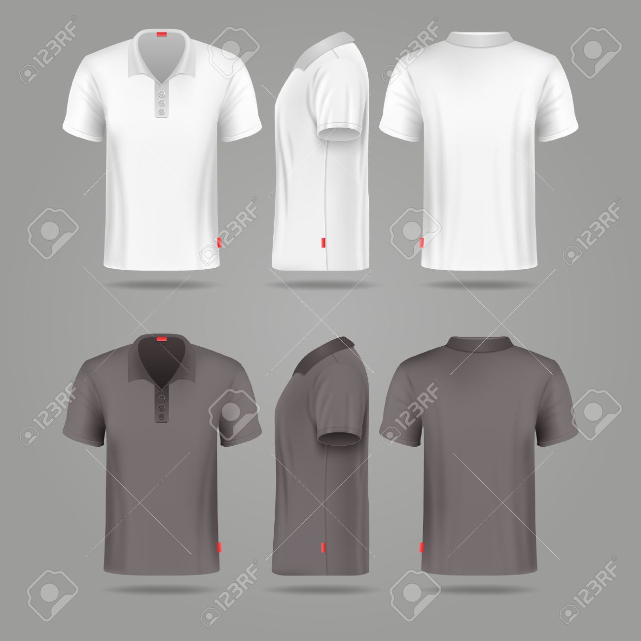 e152c285 Vector - White black mens polo t-shirt front back and side views mockups.  Template fashion tshirt for sport illustration