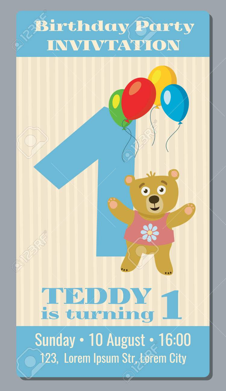 Birthday Party Invitation Card With Cute Bear Vector Template 1 Year Old To