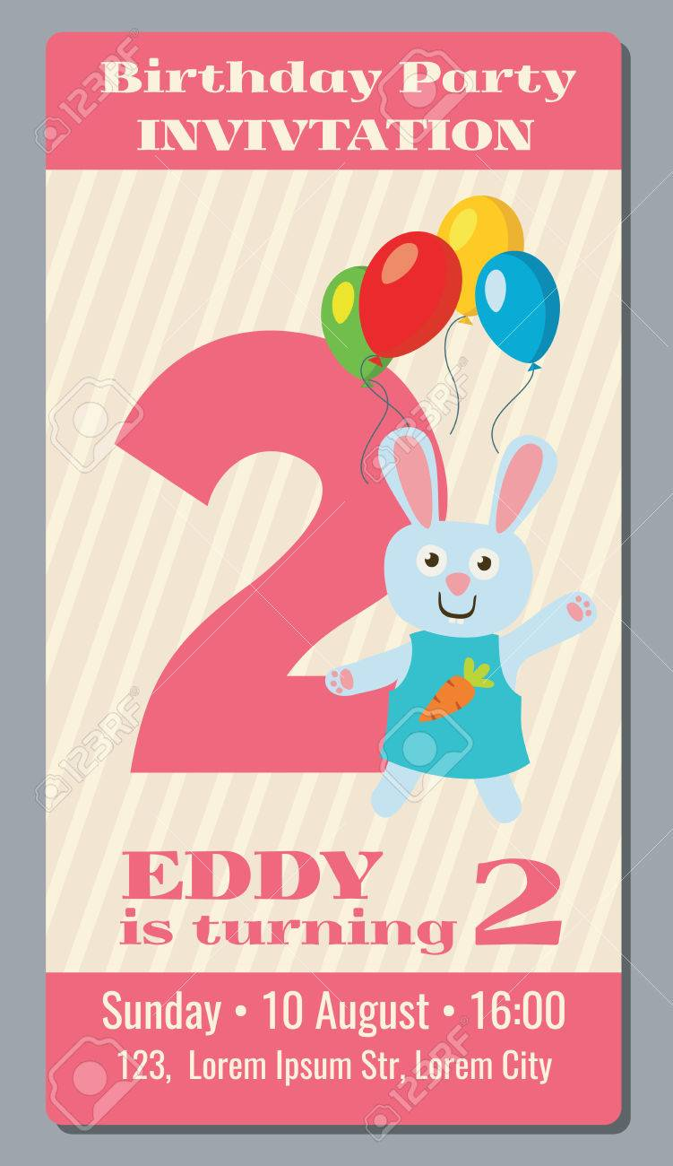 Birthday Anniversary Party Invitation Card With Cute Rabbit Vector Template 2 Years Old To