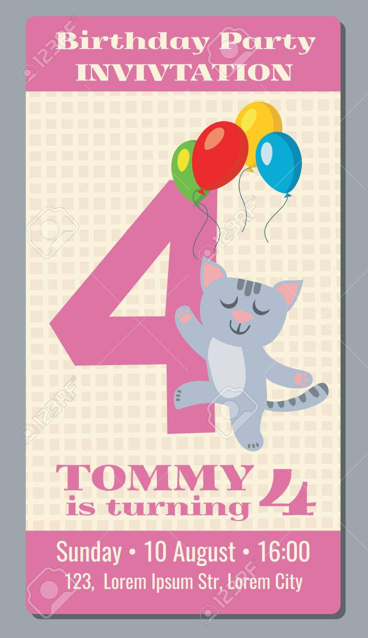 Birthday Holiday Greeting And Invitation With Cute Cartoon Cat Vector Card 4 Years Old