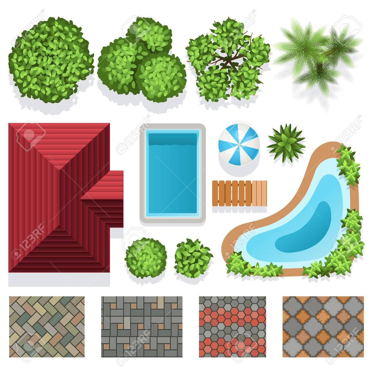 Gartenlandschaft Vektorelemente Für Strukturplan. Architektonische ...