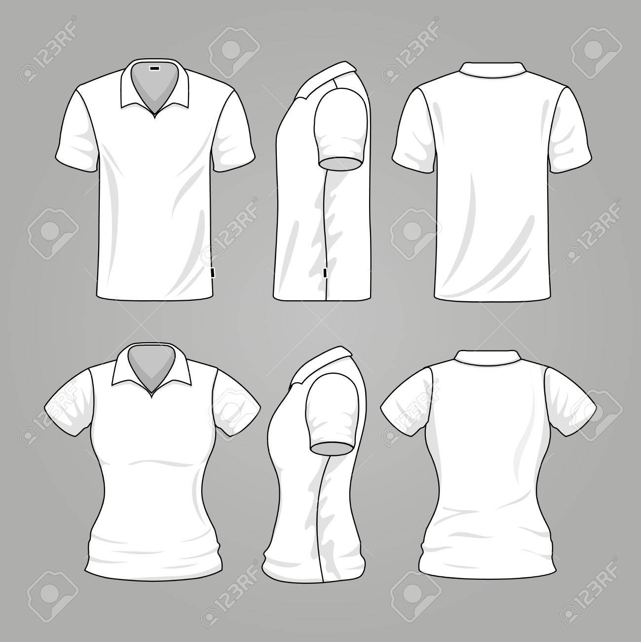 blank white mens and womens t shirt outline vector template of t ...