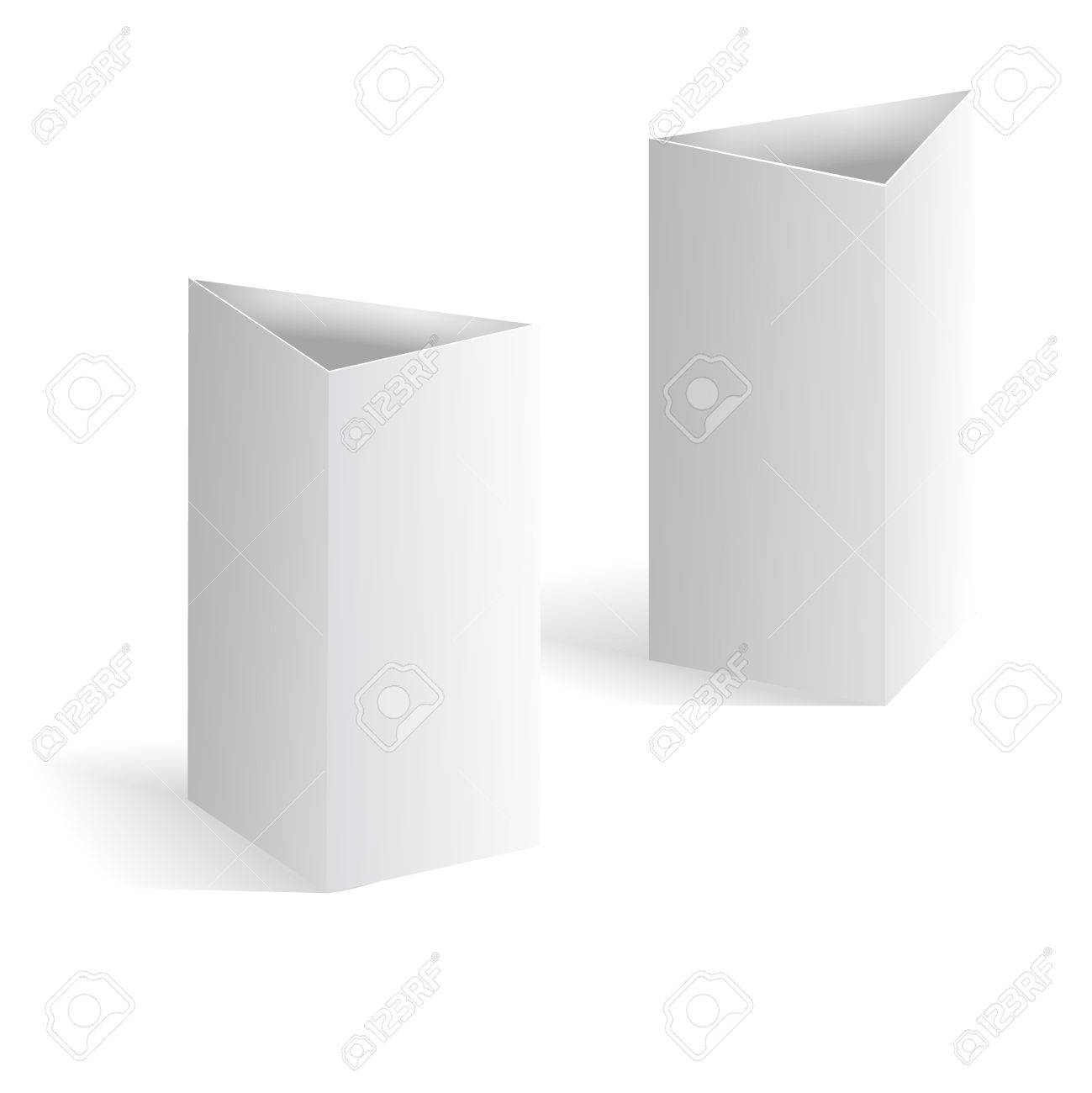 White Blank Table Tent Vector Vertical Triangle Cards Isolated – Blank Table Template