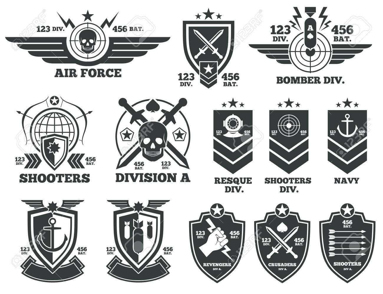 Vintage Military Labels And Patches Emblem Badge