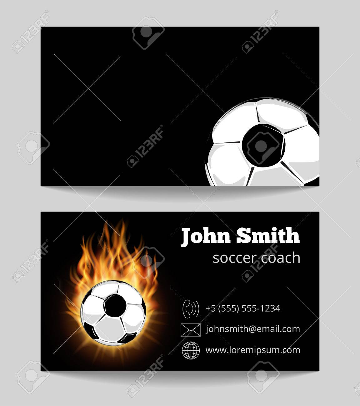 Soccer Black Business Card Template. Soccer Ball In Fire. Vector ...