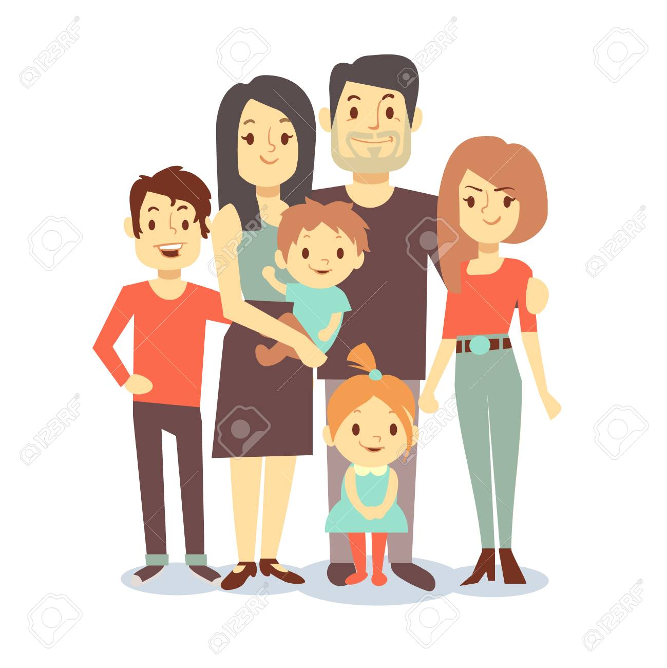 Cute cartoon family mom and dad, vector characters family in
