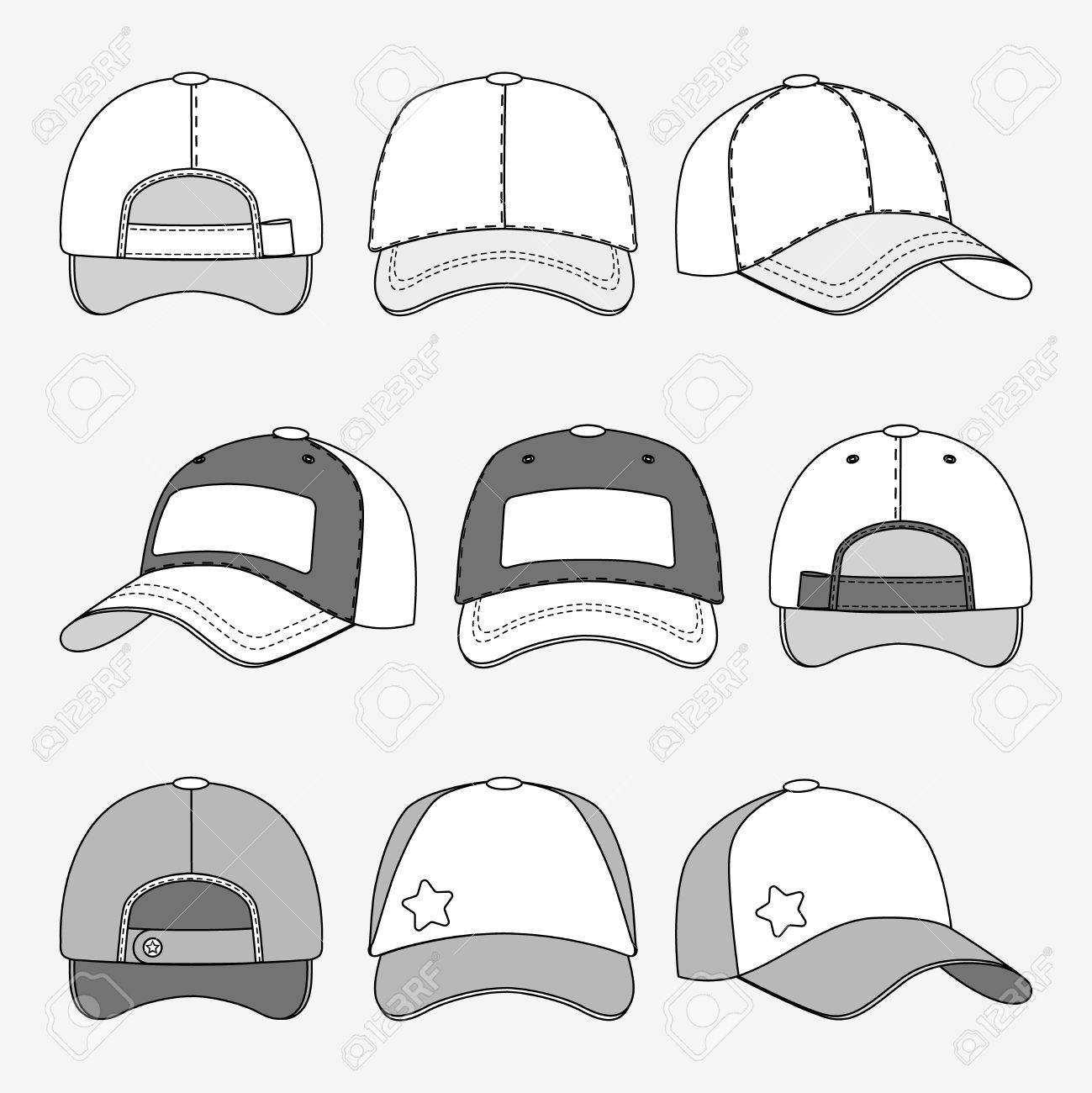 Baseball Cap Front Back And Side View Outline Vector. Template ...