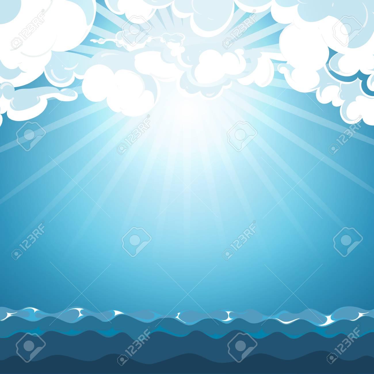 海背景に青い空。美雲と光の日、ベクトル イラスト ロイヤリティフリー