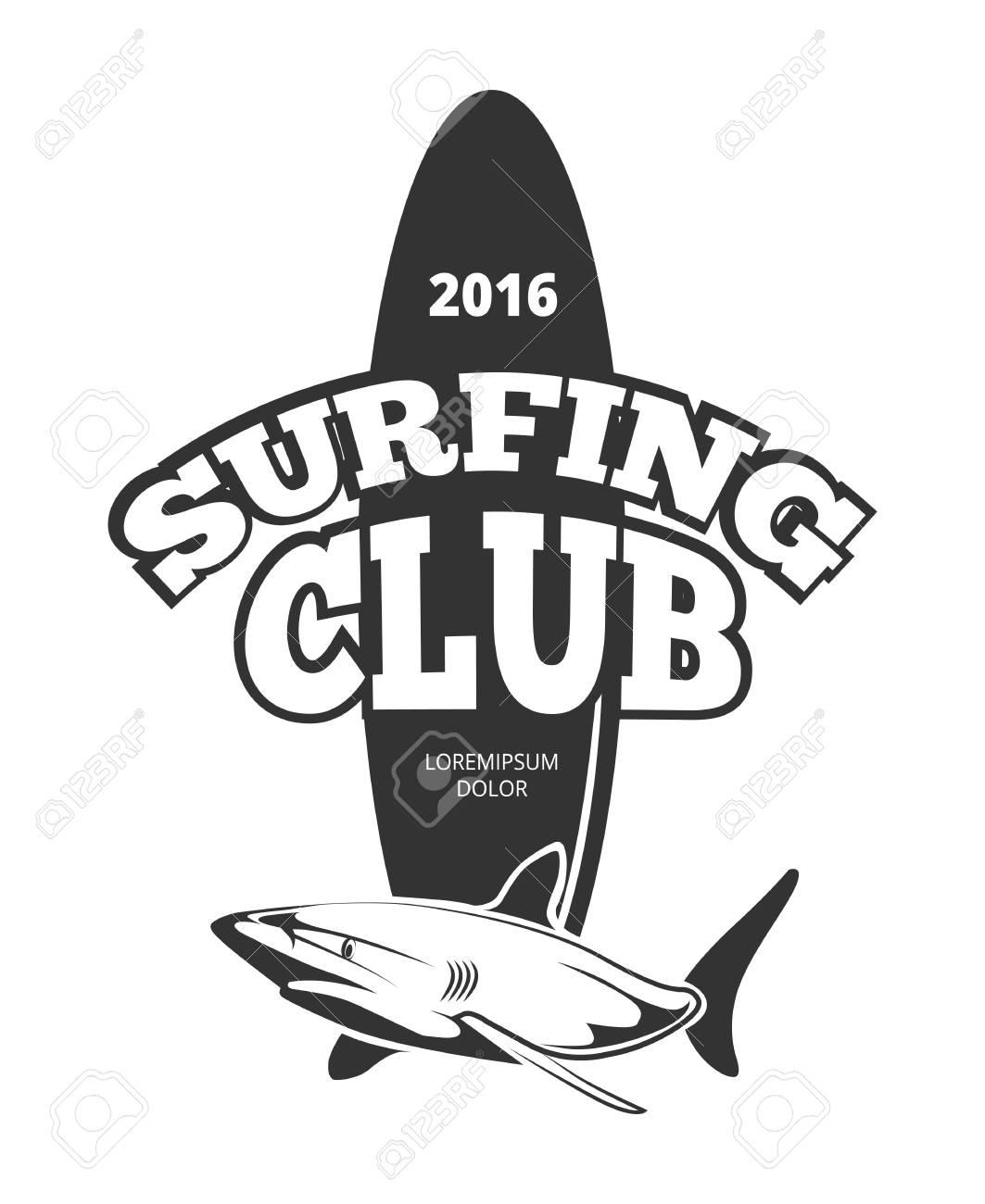 Surfing Club Logo With Board And Shark Emblem Design Vintage Surfboard Vector Illustration Stock