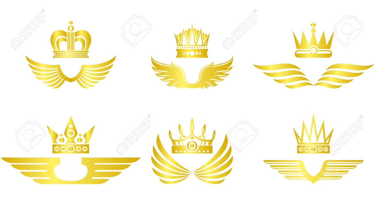 Golden crown with wings vector emblem set - 61340656