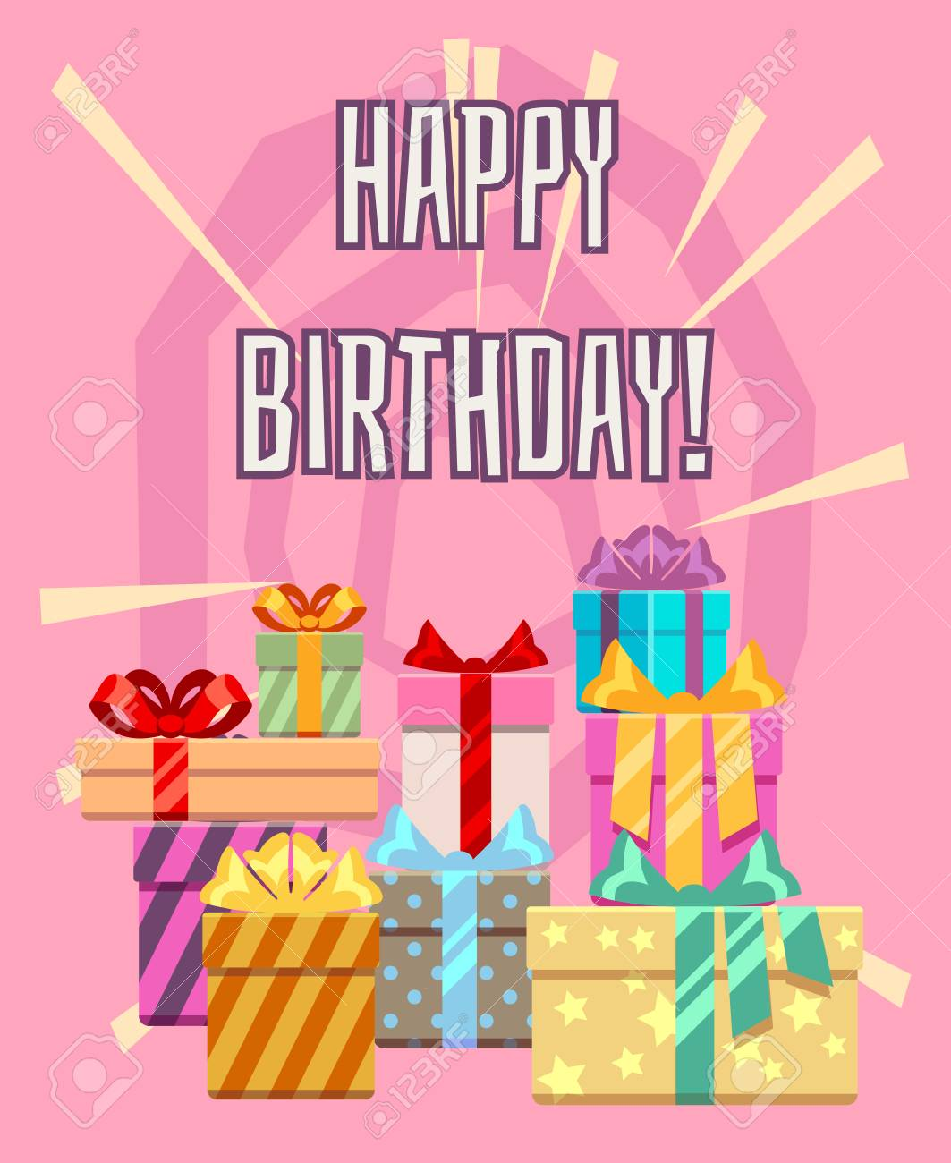 Happy Birthday Greeting Card With A Heap Of Gift Boxes Package To Holiday