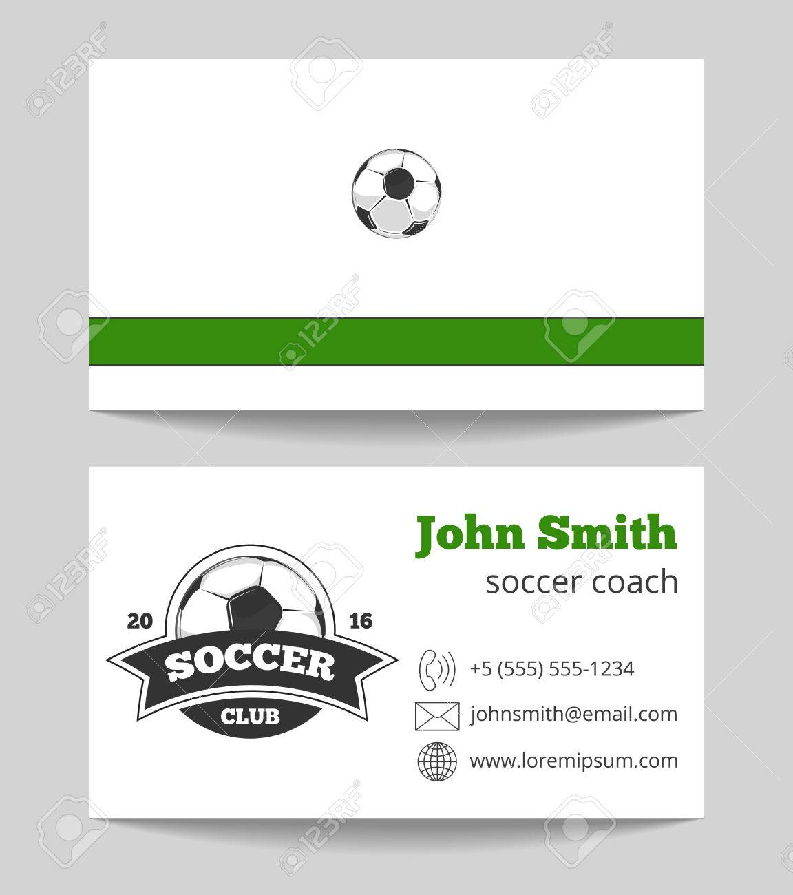 Soccer Club Business Card Green And White. Football Club. Vector ...