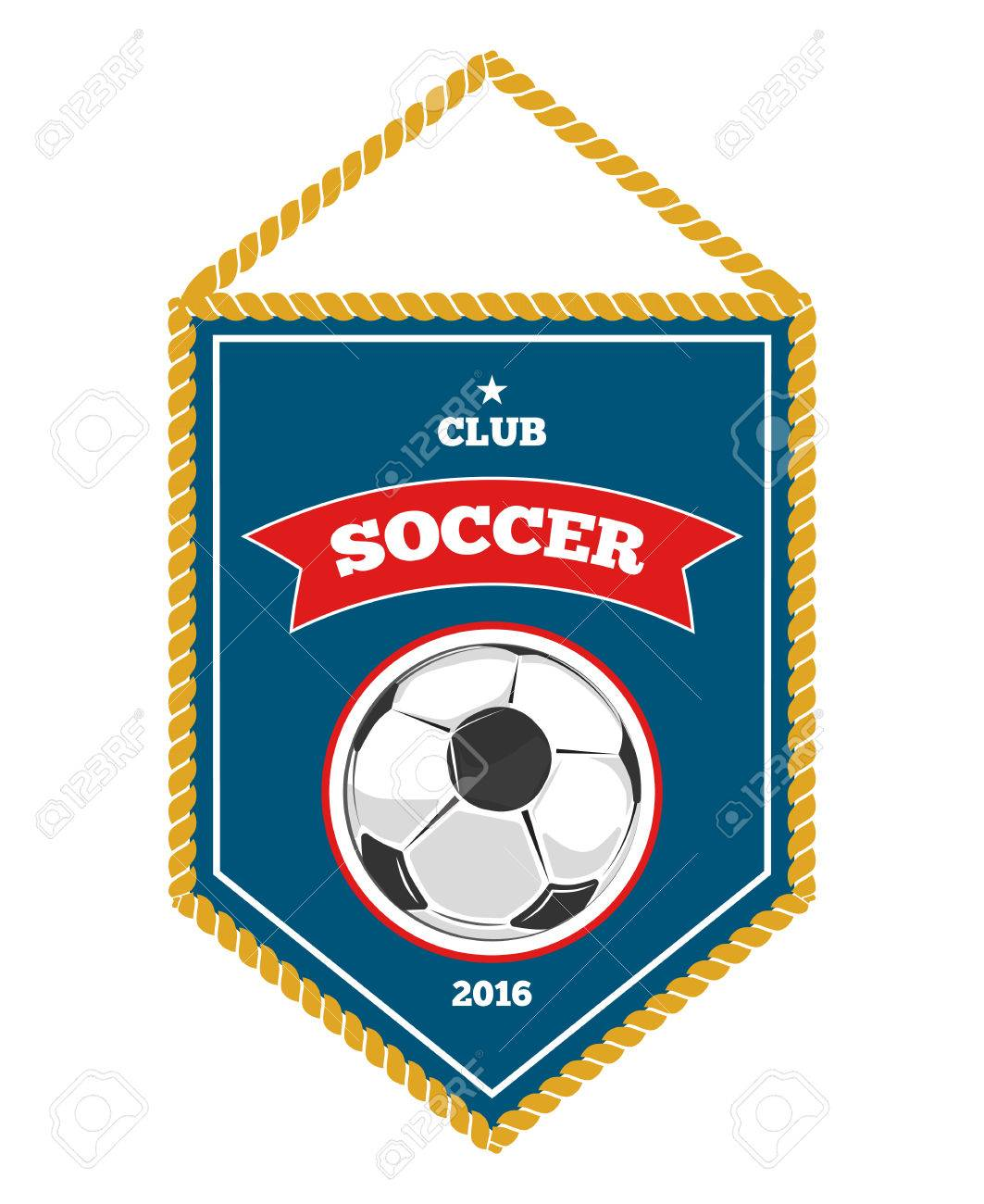 Blue Soccer Pennant Isolated White Flag Banner For Football Royalty Free Cliparts Vectors And Stock Illustration Image 61551973