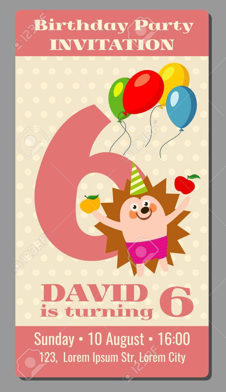 Vector De La Tarjeta De Cumpleaños Hermosa Feliz Con El Erizo Divertidos 6 Años De Edad Tarjeta De Invitación Para La Ilustración Celebración De Días