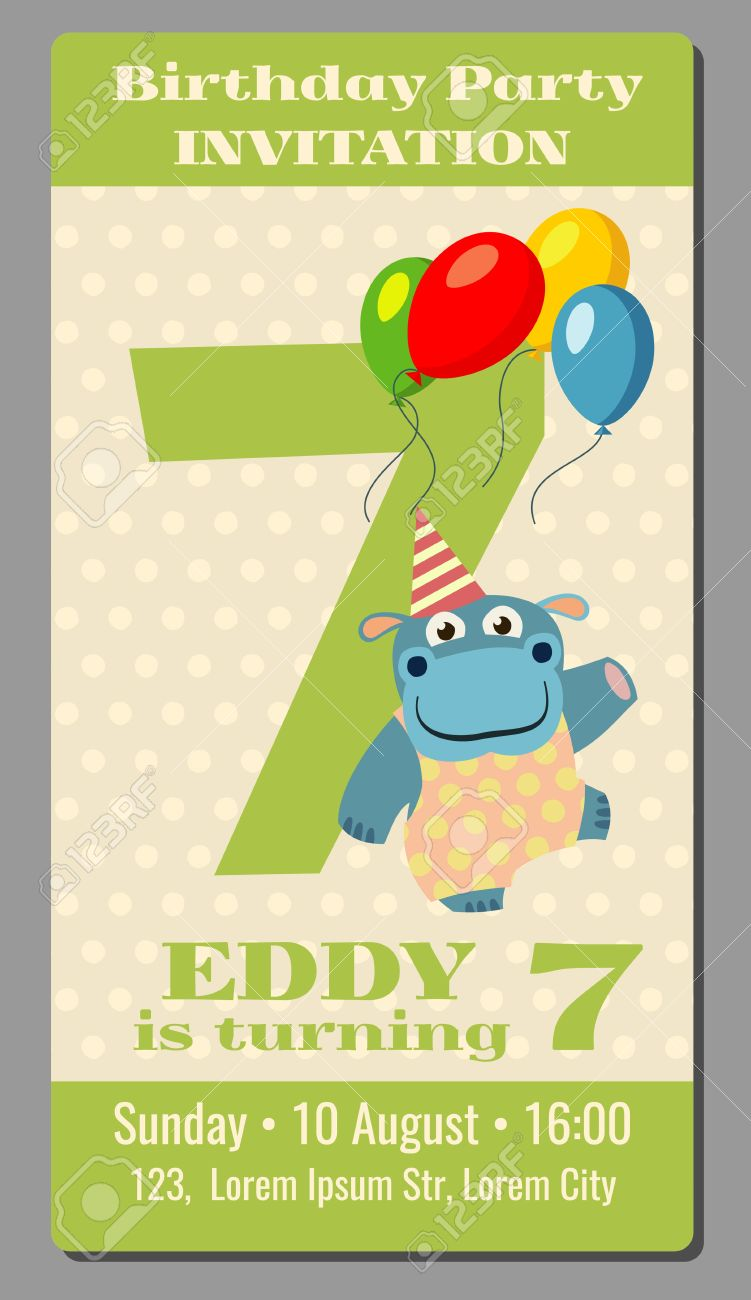 Birthday anniversary party invitation pass ticket with cute hippo birthday anniversary party invitation pass ticket with cute hippo vector template 7 years old card stopboris Choice Image