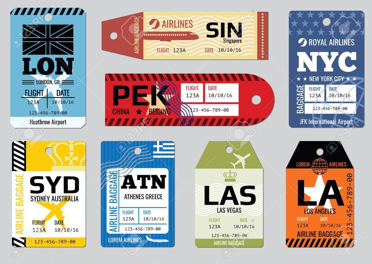Vintage luggage tags, travel labels vector set. Badge for baggage, cardboard coupon illustration - 61552530