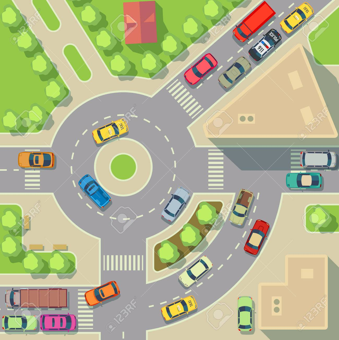 City Map With Top View Cars And Houses. Street With Active Traffic