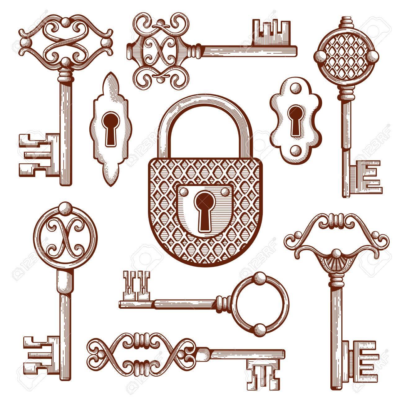 Vintage keys, locks and padlocks hand drawn. Keyhole and secrecy, various classic elements, vector illustration - 61707831
