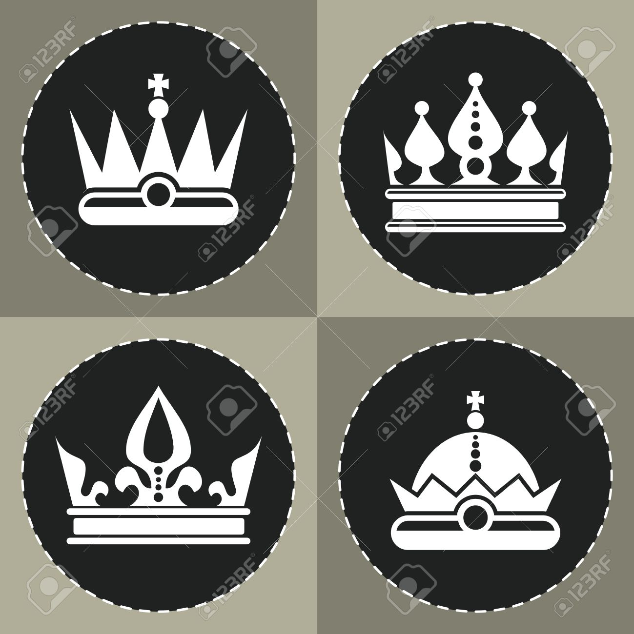 White Crown Icons On Black Background For Chess Queen Crown