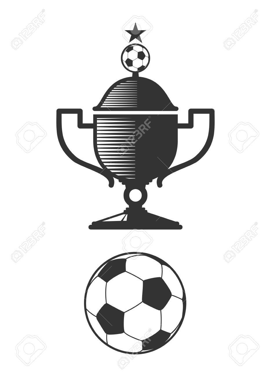 Soccer Cup And Ball Design Elements Football Icon For Sport Team