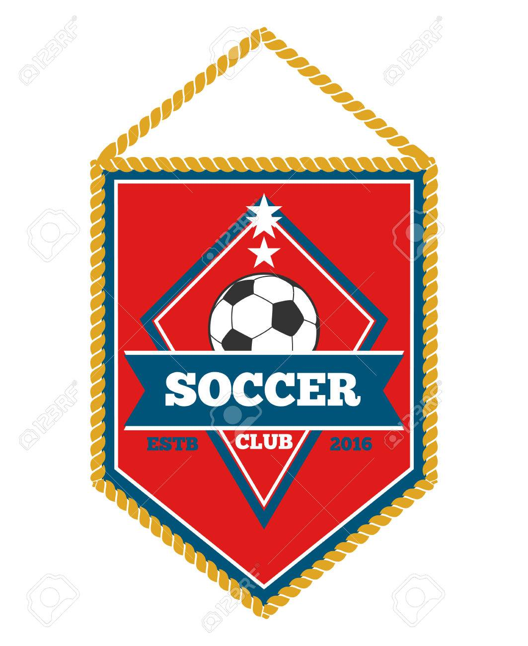 Red Soccer Pennant Isolated White Football Flag And Sport Banner Royalty Free Cliparts Vectors And Stock Illustration Image 61854983