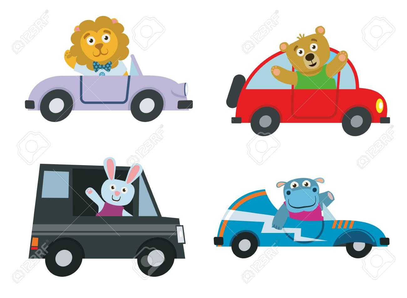 かわいい漫画の動物のベクトルのセットと子供車輸送。文字ライオン、カバ