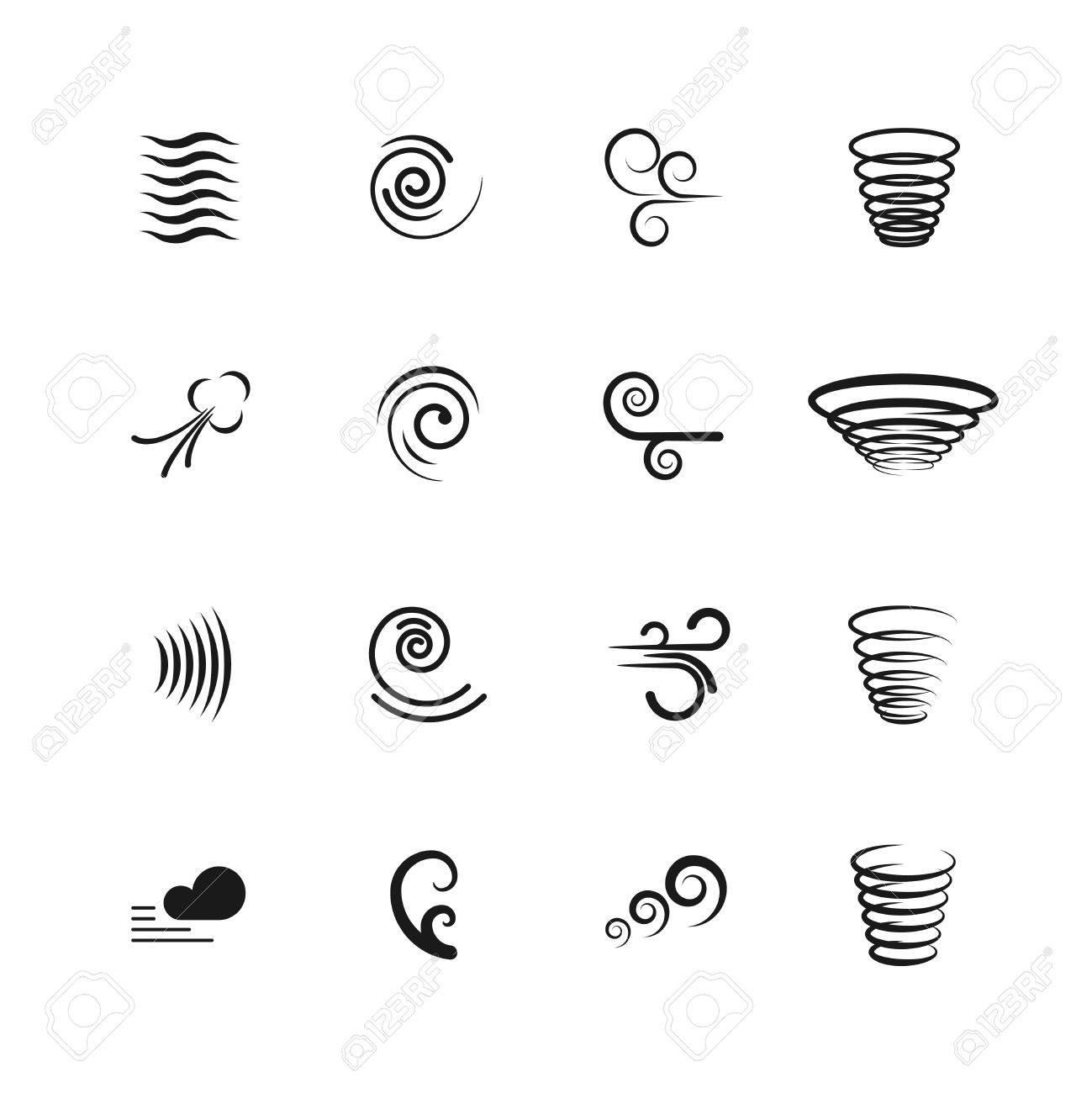 風動きベクトルのアイコン渦や波渦竜巻イラスト セットの